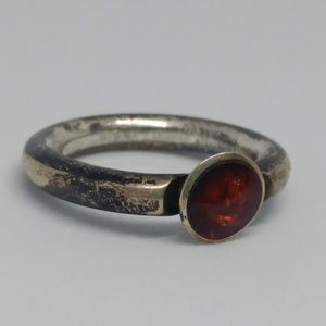 Amber Sterling Silver Rounded Circular Band Ring